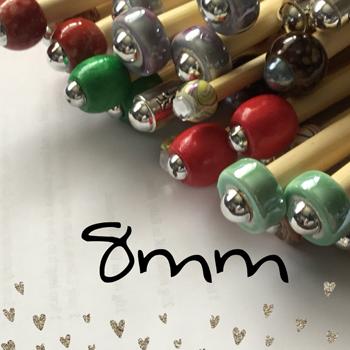 8mm (US Size 11) 1 Pair Beaded Bamboo Knitting Needles/crochet Hook