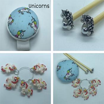 Unicorn Gift Set Includes 23cm 4mm Knitting Needles, Wrist Pin Cushion and Stitch Markers